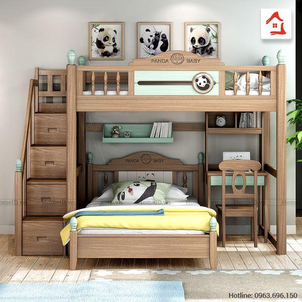 Mẫu giường tầng thông minh kết hợp bàn học gỗ tự nhiên - M4