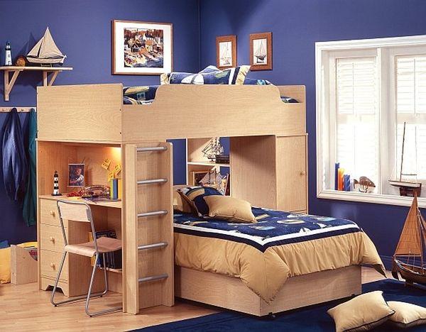 Mẫu giường tầng thông minh kết hợp bàn học gỗ tự nhiên - M3