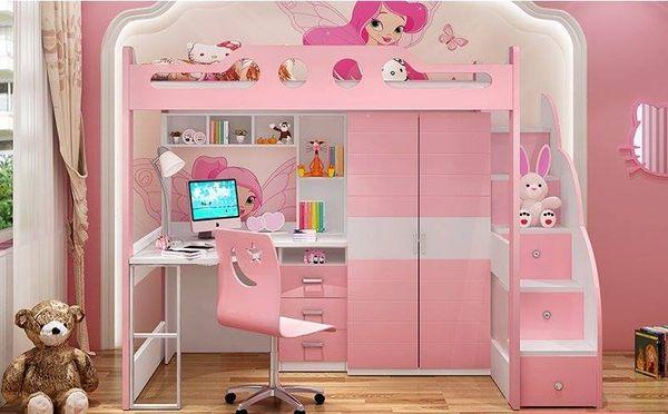 Mẫu giường tầng đa năng dành cho bé gái - M2