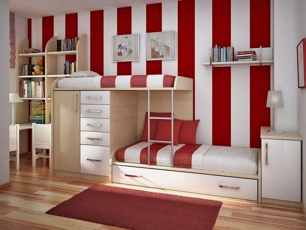 Mẫu giường tầng kết hợp bàn học cho bé trai