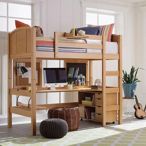 Mẫu giường tầng thông minh kết hợp bàn học gỗ tự nhiên - M1