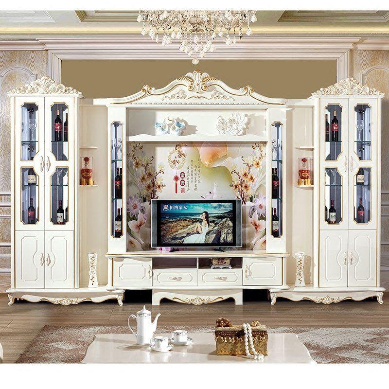 Mẫu thiết kế kệ tivi liền tủ rượu đẹp - sang trọng - M2