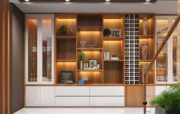 Tủ rượu thiết kế dạng âm tường