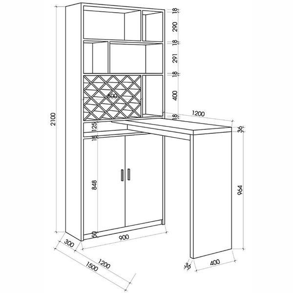 Bản vẽ kích thước tủ trưng bày rượu chi tiết - H8