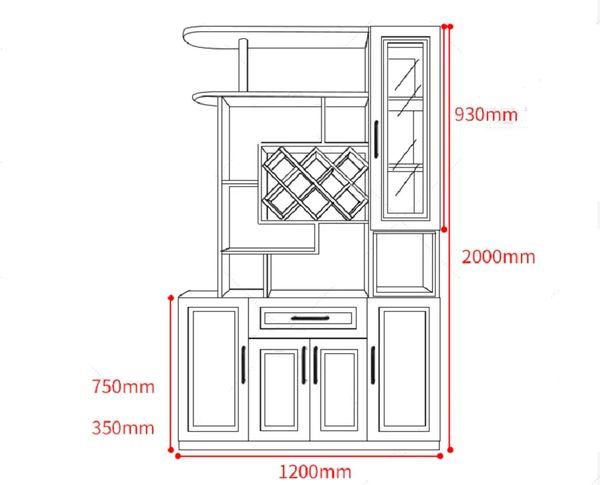 Bản vẽ kích thước tủ trưng bày rượu chi tiết - H9