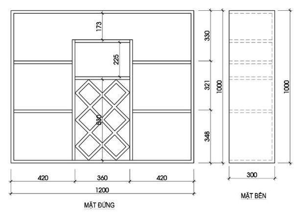 Bản vẽ kích thước tủ trưng bày rượu chi tiết - H7