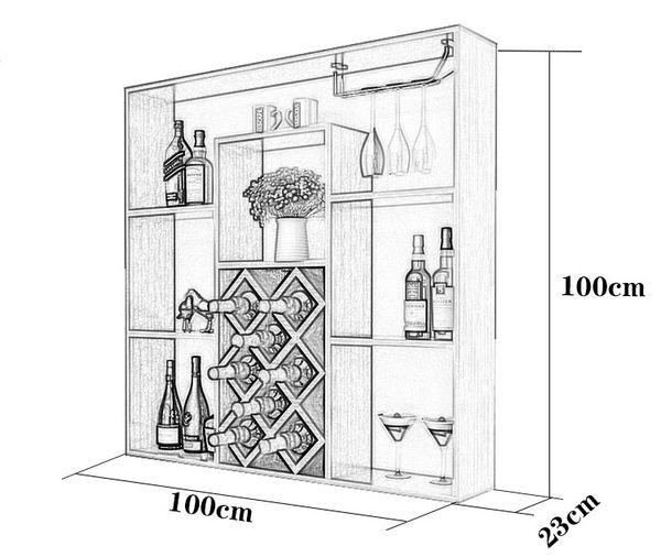 Bản vẽ kích thước tủ trưng bày rượu chi tiết - H1