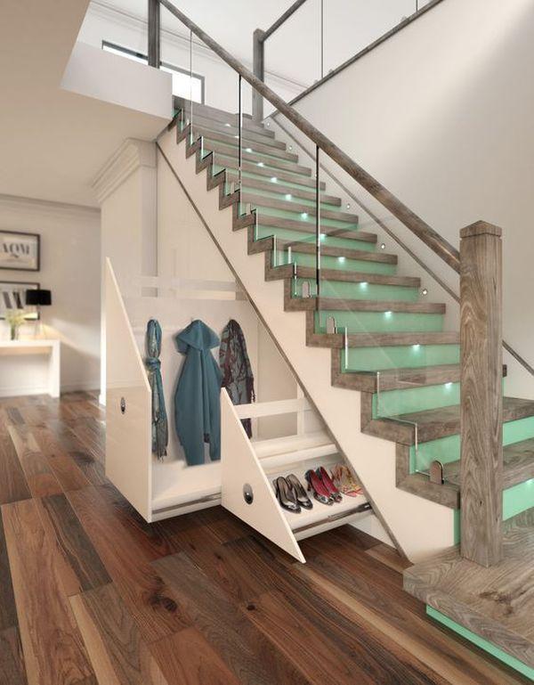 Mẫu tủ quần áo, giày dép dưới gầm cầu thang đẹp