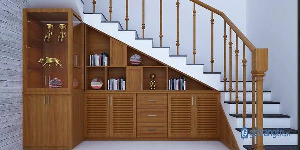 Mẫu tủ bếp gỗ dưới gầm cầu thang đẹp