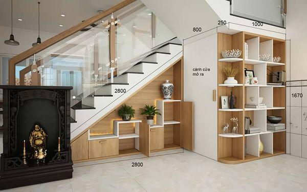 Tủ sách trang trí dưới gầm cầu thang - M3