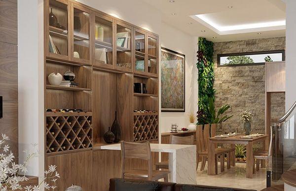 Mẫu tủ rượu gỗ âm tường