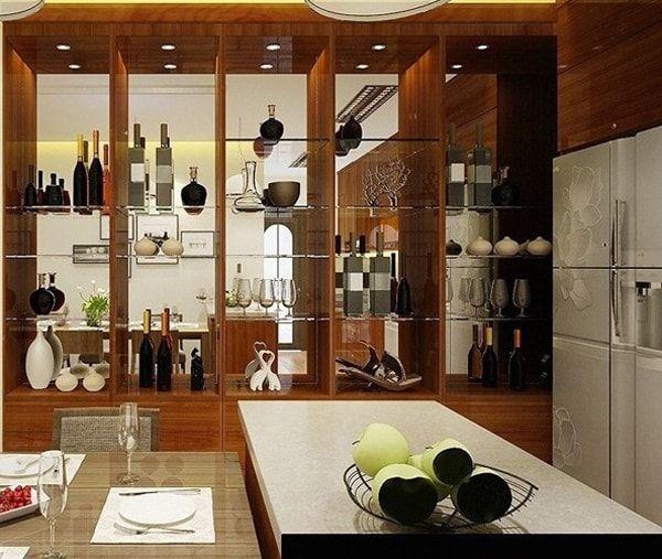 Mẫu tủvách ngăn phòng khách và bếp đẹp 2021