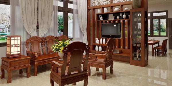 Tủ vách ngăn phòng khách và bếp đẹp sang trọng - M2