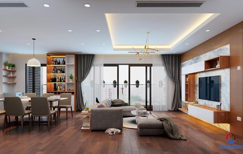 Mẫu tủ trang trí phòng khách hiện đại