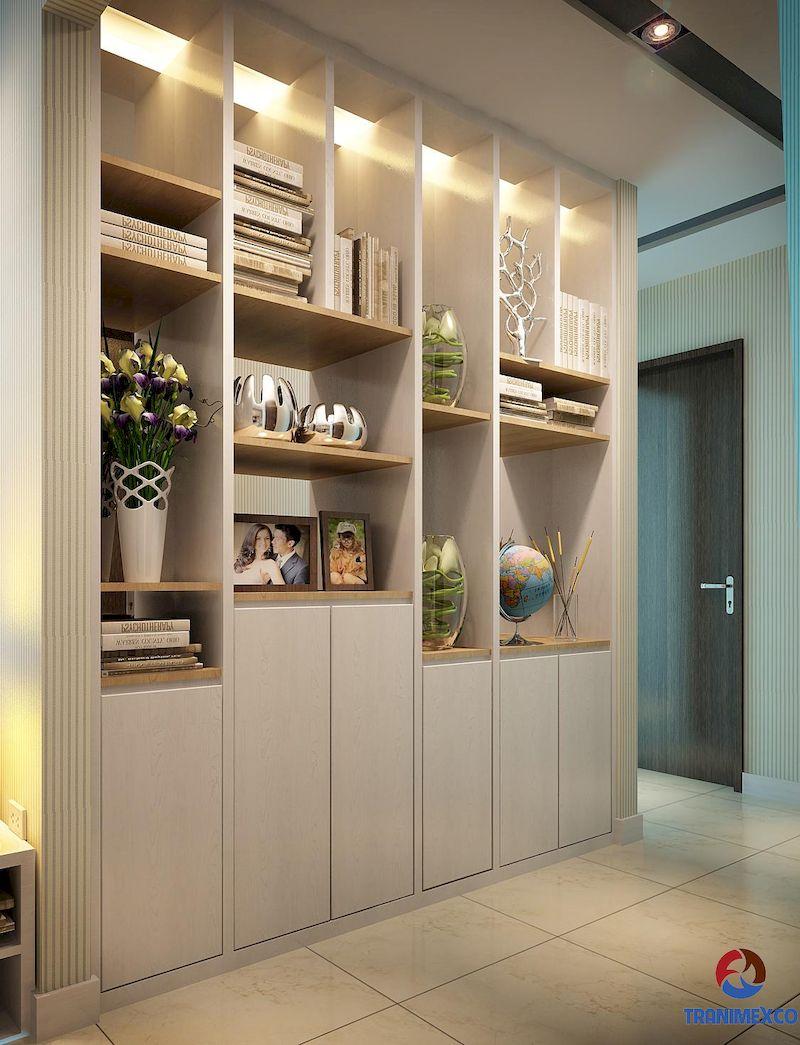 Mẫu tủ trang trí phòng khách gỗ tự nhiên đẹp