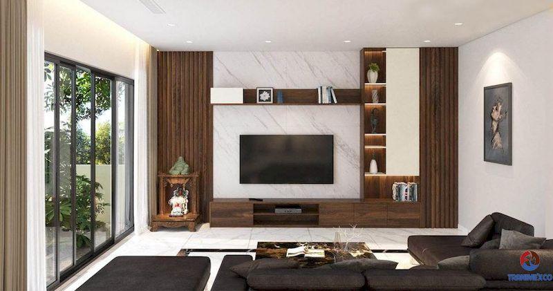 Tủ gỗ trang trí phòng khách đẹp